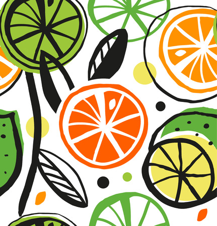 Decorative drawing seamless pattern with citrus fruit.  Illustration