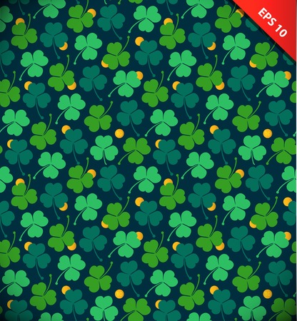 Seamless pattern with clover, trefoil. St. Patrick