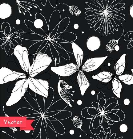 Black and white seamless floral pattern. Decorative ornate background with fantasy flowers
