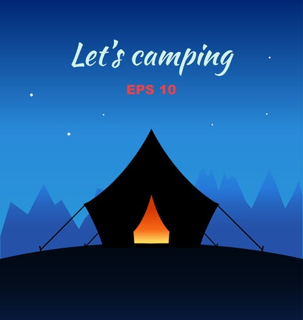 camping tent: Vector camping concept night silhouette with tent and nature around. Poster with nature viewes Illustration