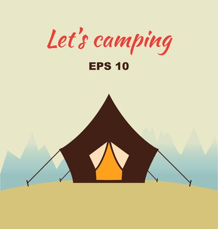 Vector decorative camping concept silhouette with tent and nature around. Poster with nature viewes Illustration