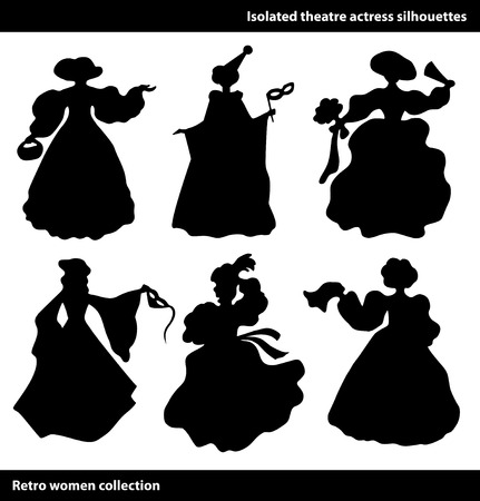 Black isolated theatre actress silhouettes. Vintage women set. Columbine Illustration
