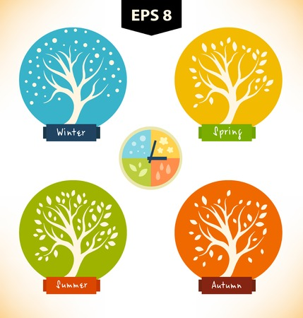 Vector isolated silhouettes of trees in seasons. Set of decorative stylized icons