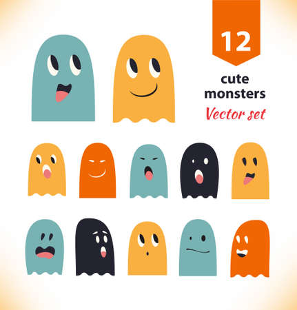 monster face: set with cute ghosts. Collection of spooks with different emotions
