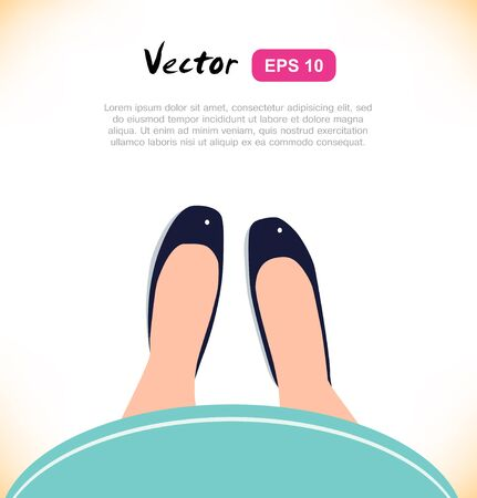 leather skirt: Fashion illustration of elegant girls legs on white background. View from above