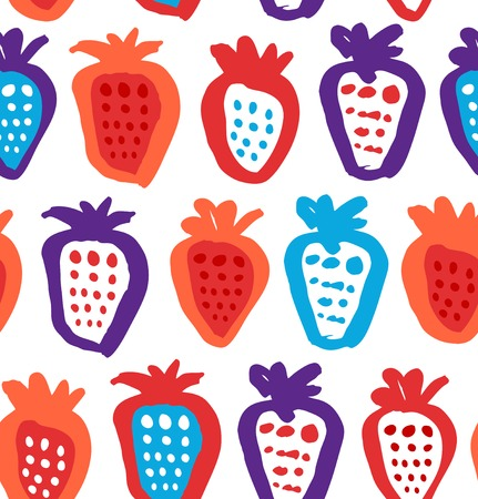 Seamless childish background with berries. Endless fabric texture. Decorative drawing pattern Illustration