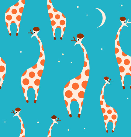 Seamless decorative pattern with funny giraffes. Cute childish background Illustration