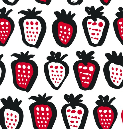 Seamless black, white and red contrast background with berries. Vector fabric texture. Decorative drawing pattern