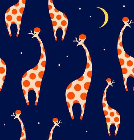 Seamless decorative pattern with funny giraffes. Cute colorful texture Illustration
