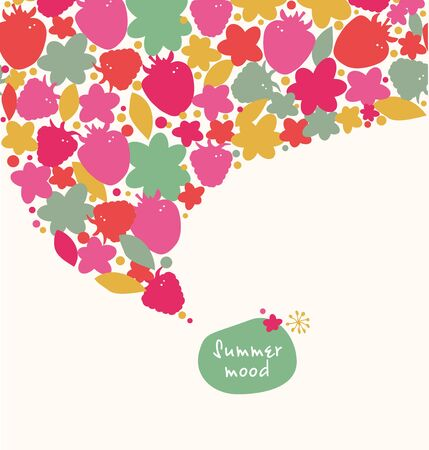 Decorative summer banner. Ornate border with hearts, flowers, leaves. Design element with many cute details