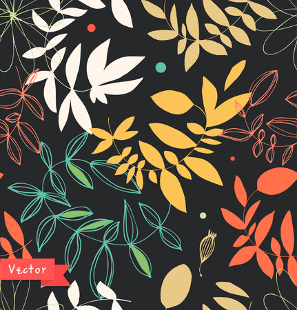 Decorative floral seamless pattern. Vector background with leaves and branches