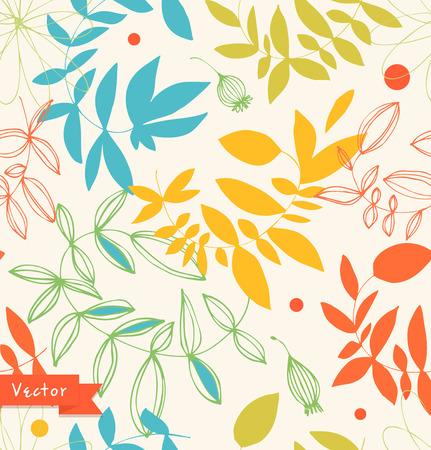 Decorative bright floral seamless pattern. Vector summer background with leaves and branches Illustration