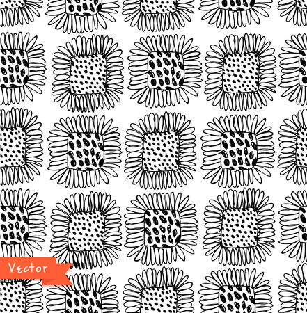 Ornamental black and white seamless floral pattern. Decorative beauty background with flowers.
