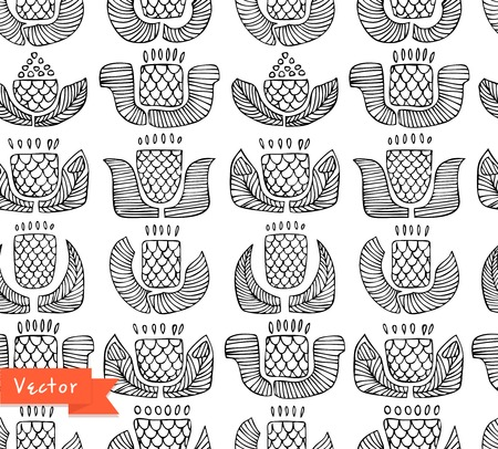 Black and white ethnic pattern with different flowers, buds and leafs. Endless background with ornamental native elements. Hand drawn stylish texture for prints, covers, clothes Vector