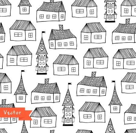 Seamless pattern with decorative houses in pastel colors. City background. Hand drawn town tempate for prints, textile, wallpapers, wraps Illustration