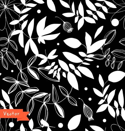 Decorative black and white floral seamless pattern. Vector summer background with leaves and branches