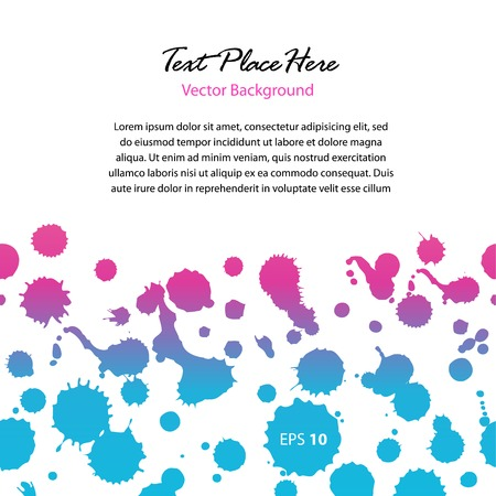 Watercolor abstract banner. Contrast glossy dotted border with space for text message. Spots of water. Blots. Stains