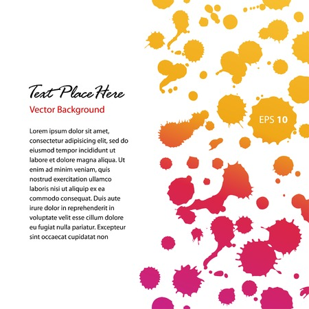 Watercolor abstract shiny banner. Sunny dotted border. Blots. Stains. Watercolor composition for scrapbook elements