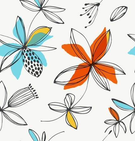 Decorative floral seamless pattern. Vector summer background with graphic flowers