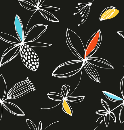 Decorative colorful floral seamless pattern. Vector summer background with cute flowers