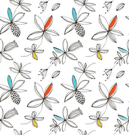 Decorative bright floral seamless pattern. Vector summer background with fantasy flowers