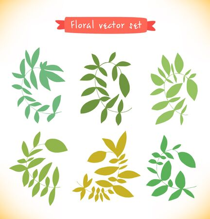 Floral vector set. Collection of drawn branches. Decorative curly elements