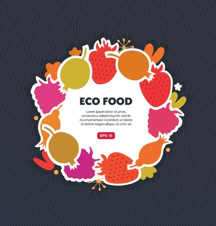 Organic round sticker with berries set. Vector eco banner
