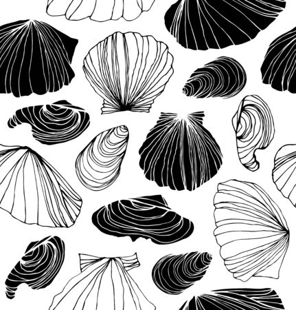 Seamless marine pattern with shells. Black and white graphic background with seashells