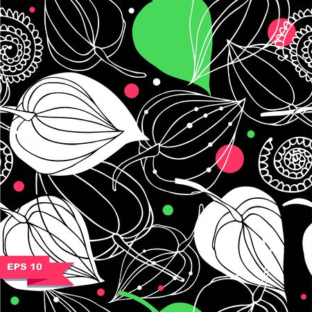 Colorful floral seamless pattern. Lace background with flowers. Fantasy ornamental texture Illustration