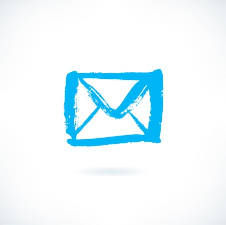 envelopes: Drawn silhouette of letter icon on white background. Image of isolated envelope in grunge style