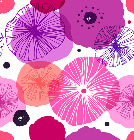Seamless decorative pattern with poppies. Vector stylish poppy. Rose floral background