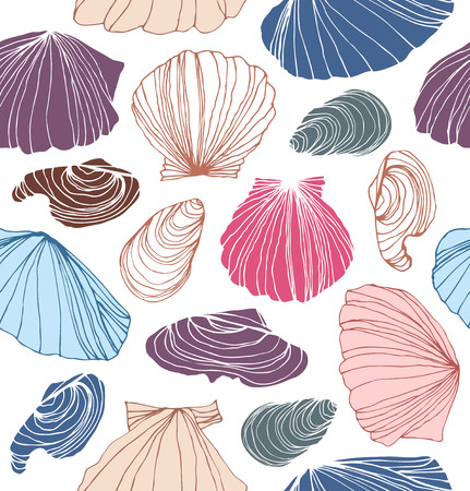 Seamless marine pattern with shells. Beautiful graphic background with seashells