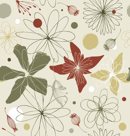 Seamless floral pattern in vintage style. Pale colored decorative ornate background with fantasy flowers Illustration