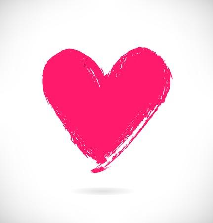 dessin coeur: Dessiné silhouette de coeur rose sur fond blanc. Symbole de l'amour dans le style grunge