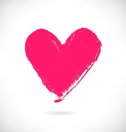 trace: Drawn pink heart silhouette on white background. Symbol of love in grunge style