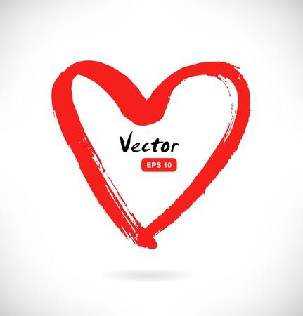 Dessiné silhouette coeur rouge sur fond blanc. symbole Sketchy de l'amour