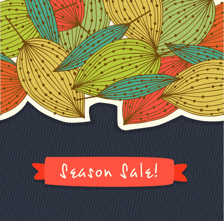 Floral season sale banner. Vector cute background with leaves