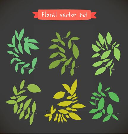 Floral vector set. Collection of colorful drawn branches. Decorative curly nature elements