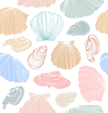 design vector: Seamless marine pattern with shells. Bright graphic background with seashells