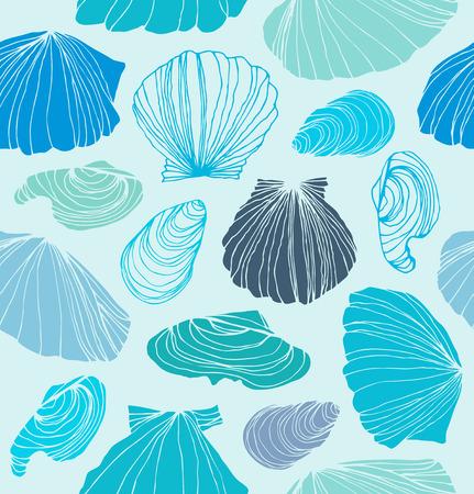 seashell: Seamless marine pattern with shells. Light blue graphic background with seashells