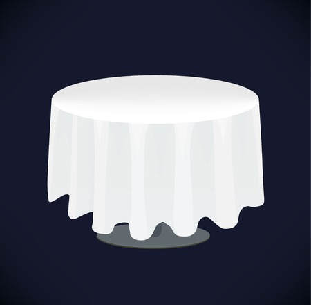 Vector isolated white table on black background. Table cloth
