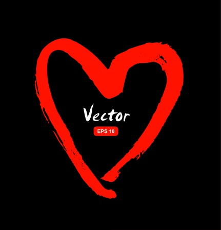Drawn red heart silhouette on black background. Sketchy symbol of love Illustration