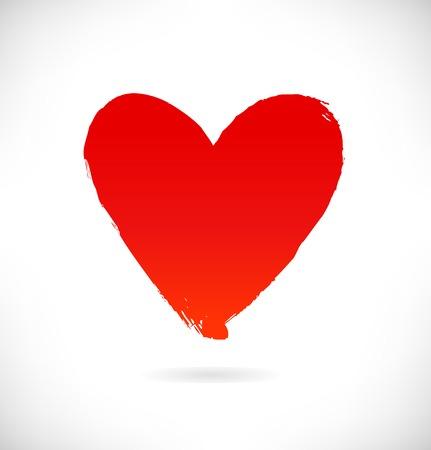 Dibujado la silueta de corazón rojo sobre fondo blanco. Símbolo de amor en el estilo grunge