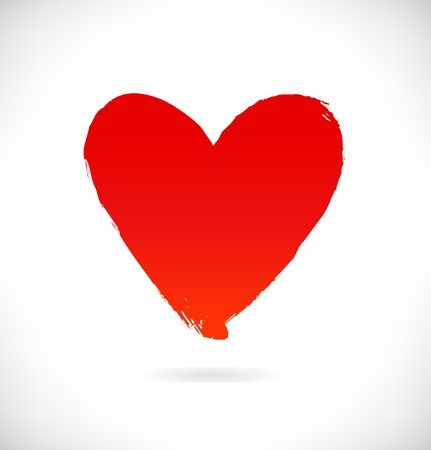 Drawn red heart silhouette on white background. Symbol of love in grunge style