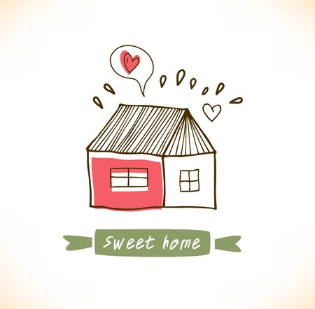 funny love: Cute countryside card with houses and trees. Grunge drawn banner