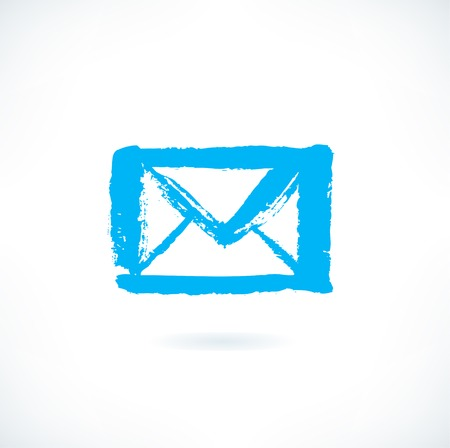 Drawn silhouette of letter icon on white background. Image of envelope in grunge style