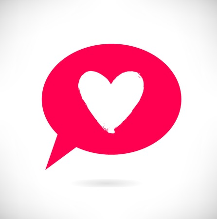 Drawn heart silhouette in red speech bubble. Symbol of love