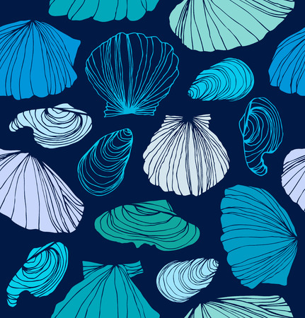 Seamless marine pattern with shells. Blue graphic background with seashells