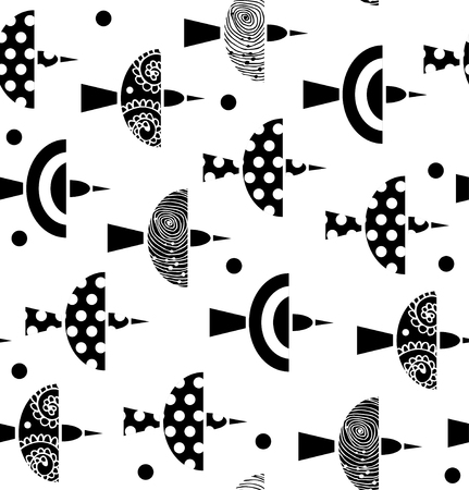 Vector seamless ornate pattern with birds. Beauty background with flock of birds
