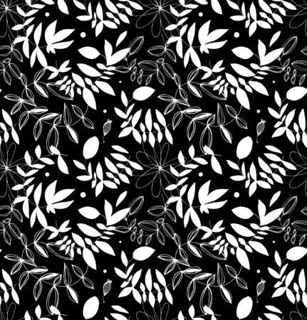 Black and white decorative floral seamless pattern. Vector background with leaves and branches